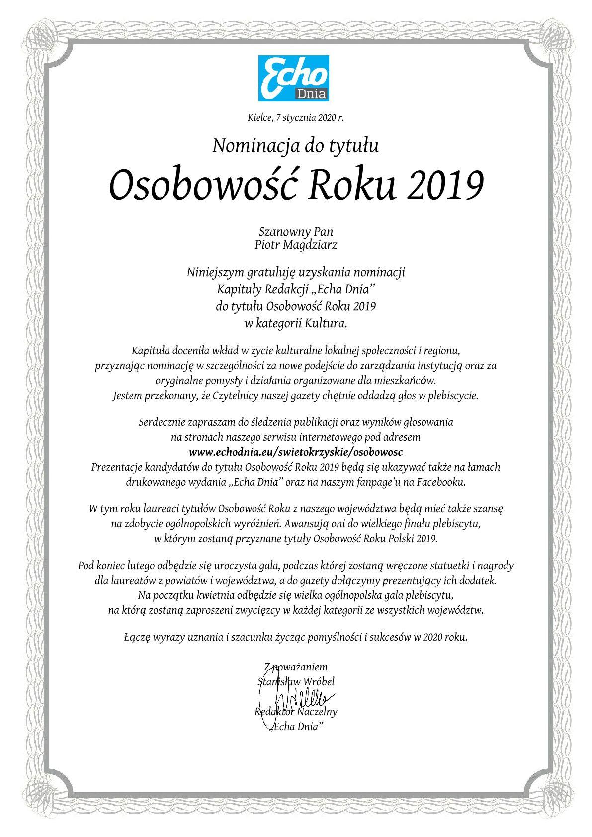 Nominacja Piotr Magdziarz